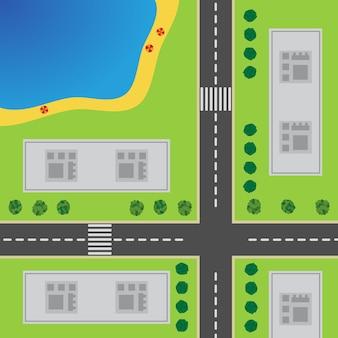 Plano de cidade. vista superior da cidade com a estrada, cruzamento, arranha-céus, árvores, arbustos e a praia.