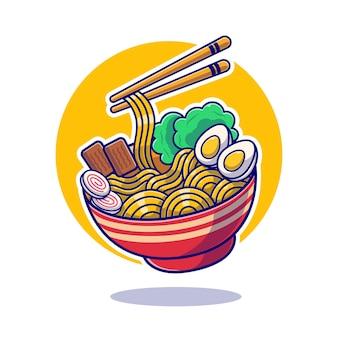 Plano de comida japonesa de macarrão de ramen.