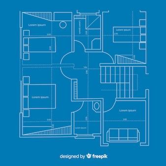 Plano de construção arquitetônica da casa da planta