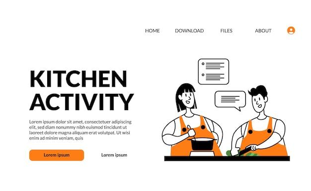 Plano de contorno moderno ilustração cozinha atividade mulher e homem casal cozinhando junto com diversão e feliz