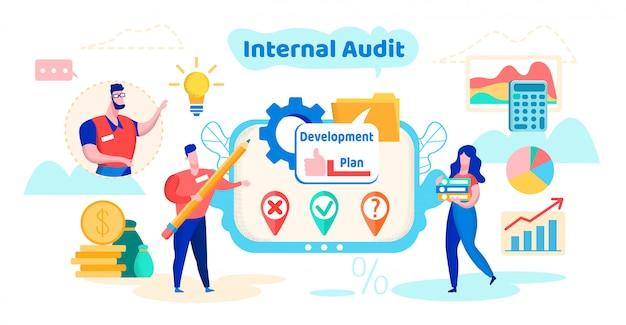 Plano de desenvolvimento de auditoria interna cartoon flat.