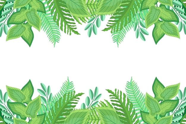 Plano de design plano de folhas exóticas verdes fundo