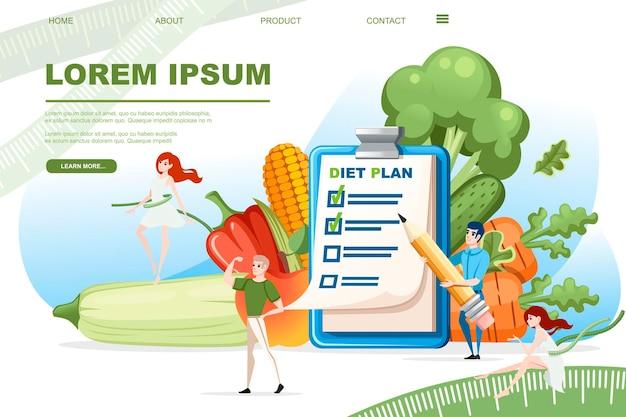 Plano de dieta da área de transferência com lista de verificação e homem segurando o conceito de dieta de lápis com vegetais