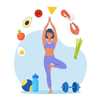 Plano de dieta. mulher magro, fazendo exercícios e planejando dieta com frutas e vegetais. garota fazendo ioga. alimentação dietética, planejamento alimentar, consulta nutricional, alimentação saudável, esporte. estilo de vida saudável, fitness