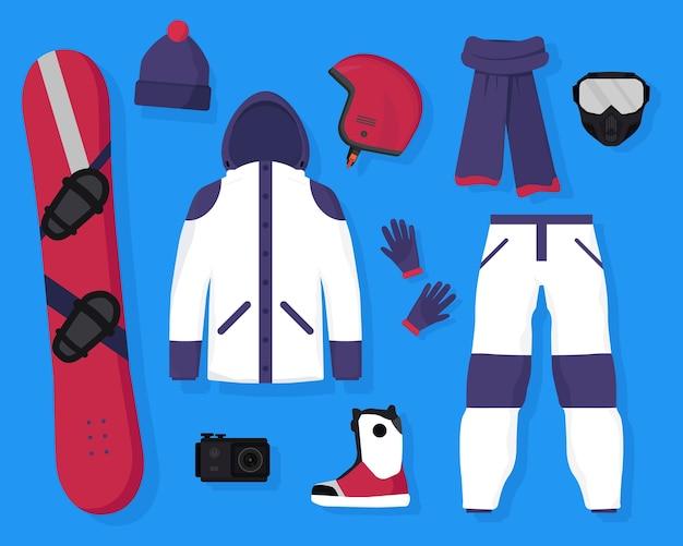 Plano de equipamento de snowboard e placa de acessórios, capacete de proteção, máscara, câmera de ação, jaqueta quente, calças, lenço, chapéu, luvas e botas. esportes radicais de inverno e recreação ativa