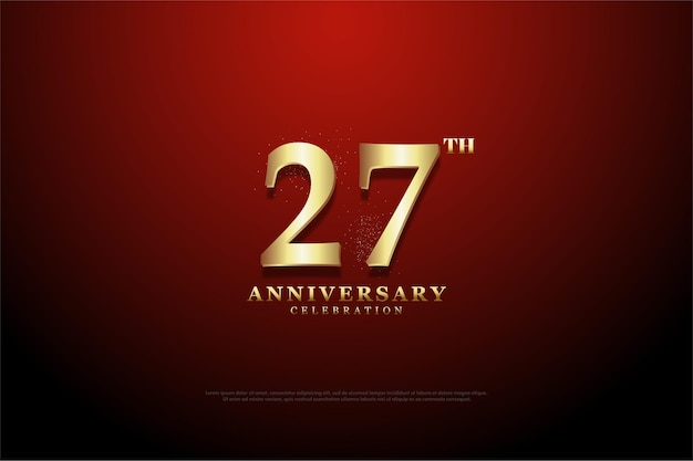 Plano de fundo 27º aniversário com ilustração de algarismos dourados sobre fundo vermelho de vinheta.