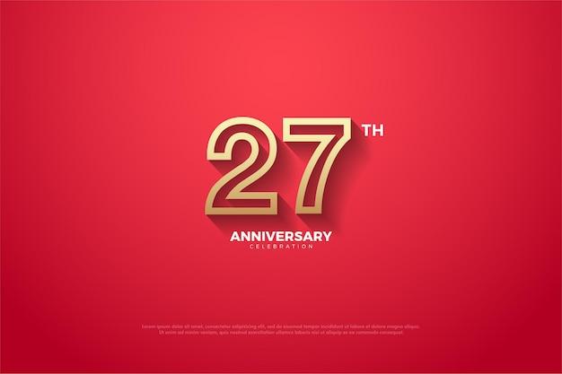 Plano de fundo 27º aniversário com números listrados em marrom dourado nas costas vermelhas.