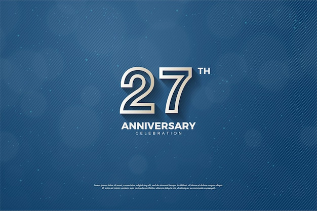Plano de fundo 27º aniversário com números listrados marrons em um fundo azul marinho. Vetor Premium