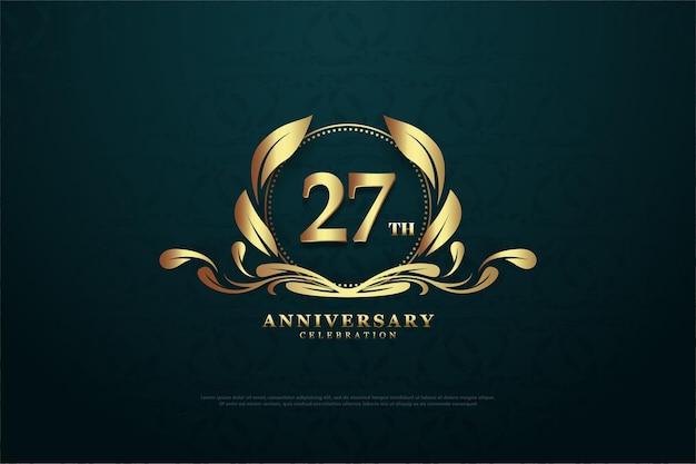Plano de fundo 27º aniversário com uma ilustração de número no meio da imagem.
