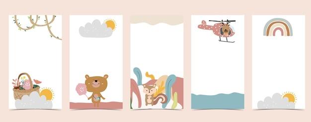 Plano de fundo bonito para mídias sociais. conjunto de história com arco-íris, urso, árvore