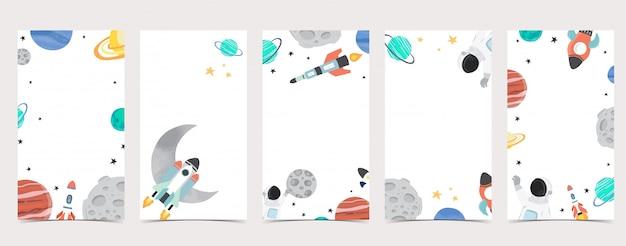 Plano de fundo bonito para mídias sociais. conjunto de história do instagram com astronauta, terra, lua, estrela