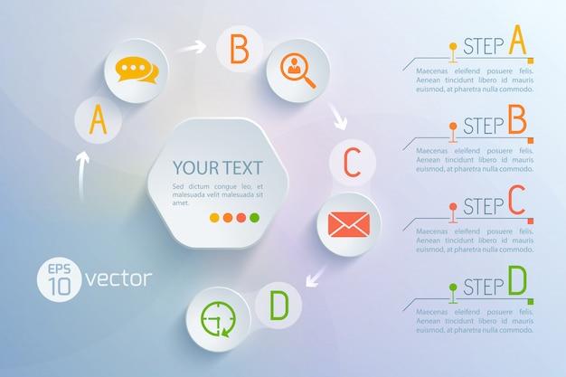Plano de fundo com a composição do círculo do fluxograma da interface virtual do chat redondo e ícones de troca de e-mail, parágrafos de texto, ilustração