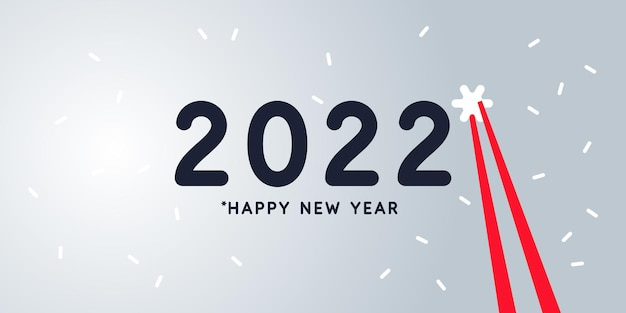 Plano de fundo com a inscrição feliz ano novo 2022 ilustração em vetor em estilo simples.
