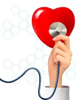 Plano de fundo com a mão segurando um estetoscópio contra um coração.