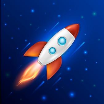 Plano de fundo com modelo de lançamento de foguete espacial retro para inicialização do projeto e ideia criativa do processo de desenvolvimento
