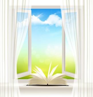 Plano de fundo com uma janela aberta e um livro aberto.