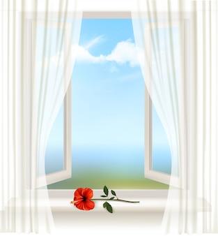 Plano de fundo com uma janela aberta e uma flor vermelha.