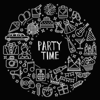 Plano de fundo composto por ícones de contorno nas festas e celebrações temáticas. organizados em um círculo.
