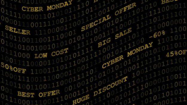 Plano de fundo da cyber monday com zeros, uns e inscrições em cores amarelas escuras