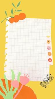 Plano de fundo da história do instagram, vetor de nota de papel com flor abstrata