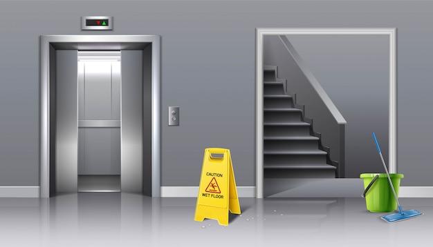 Plano de fundo da limpeza em andamento elevador salão e escadaria com sinal amarelo cuidado molhado e balde de água com uma esfregona.