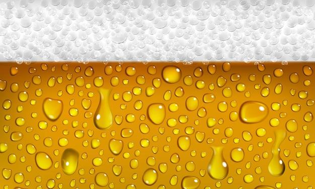 Plano de fundo da superfície de um copo de cerveja com espuma e gotas