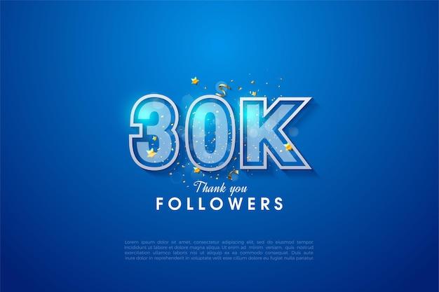 Plano de fundo de 30 mil seguidores com números delineados em branco em um fundo azul.