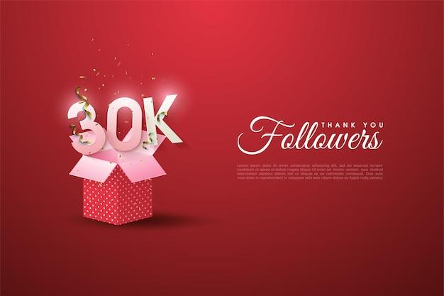 Plano de fundo de 30 mil seguidores com números ilustrados emergindo da caixa de presente.
