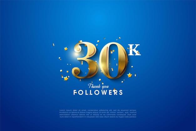 Plano de fundo de 30k seguidores com numerais dourados brilhantes nos cantos em um fundo azul.