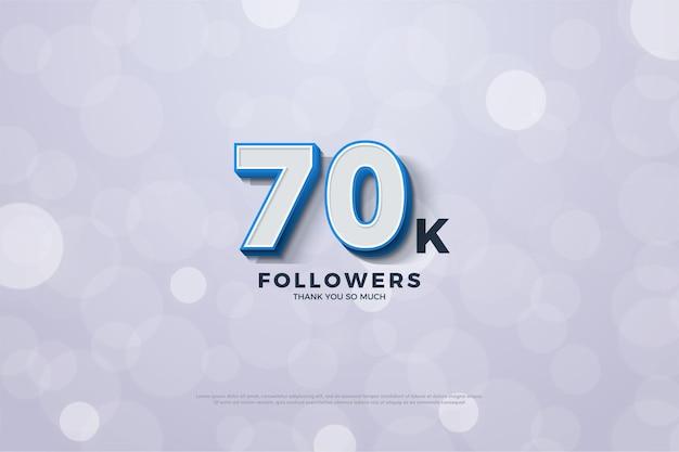 Plano de fundo de 70 mil seguidores com números em negrito em listras azuis Vetor Premium