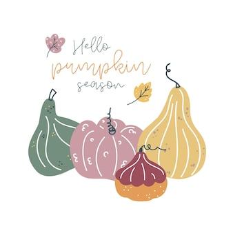Plano de fundo de abóbora abóbora cartão de outono para a colheita de ação de graças em estilo escandinavo