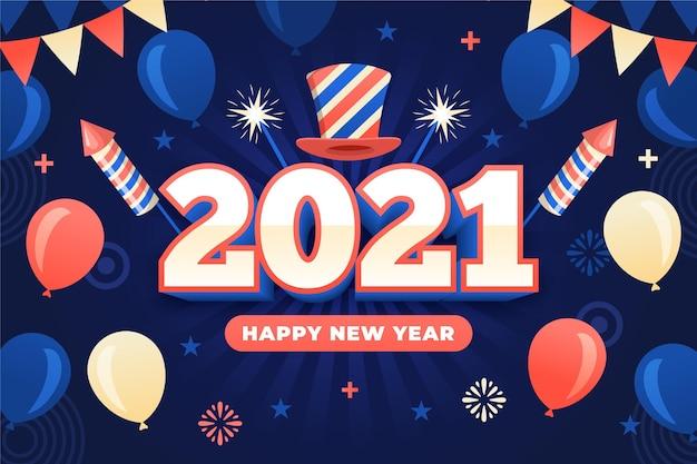 Plano de fundo de ano novo 2021 de design plano com balões