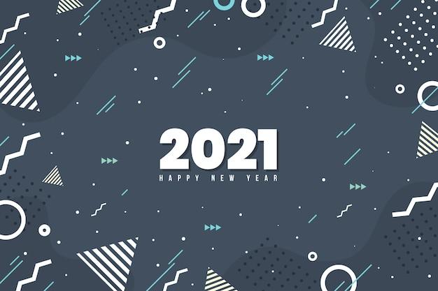 Plano de fundo de ano novo de 2021 de design plano