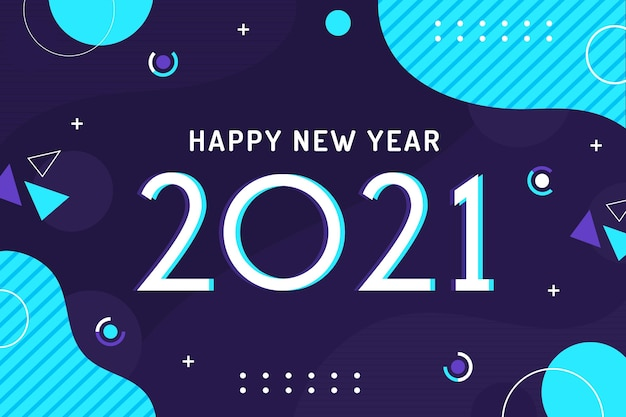 Plano de fundo de ano novo de 2021 em design plano