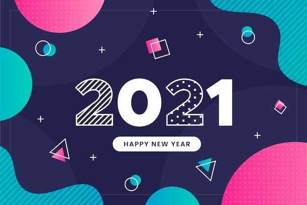 Plano de fundo de ano novo de design plano