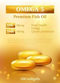 Plano de fundo de anúncios de beleza. modelo de design premium de cápsula de óleo dourado com moléculas de vitamina e ou vetor de colágeno realista. ilustração óleo dourado, cápsula de saúde para a pele