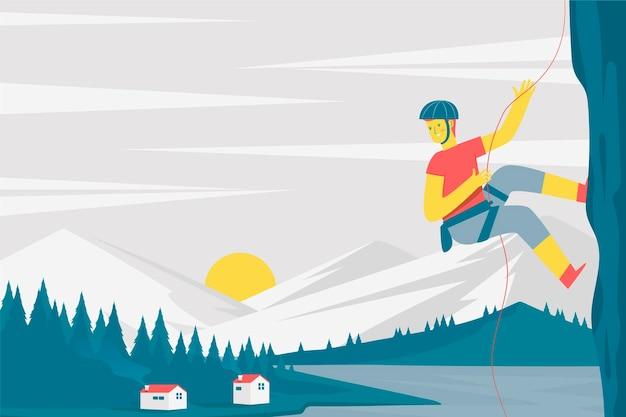 Plano de fundo de aventura com alpinista