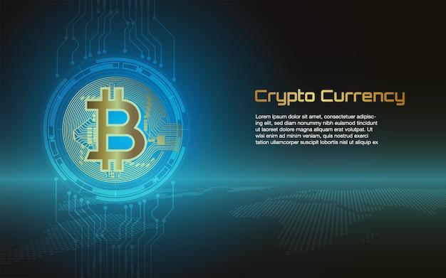 Plano de fundo de bitcoins e criptomoeda ou banner da moderna bolsa de dinheiro eletrônico
