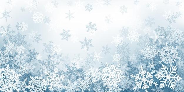 Plano de fundo de complexos flocos de neve de natal em cores cinza. ilustração de inverno com neve caindo