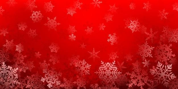 Plano de fundo de complexos flocos de neve de natal em cores vermelhas. ilustração de inverno com neve caindo