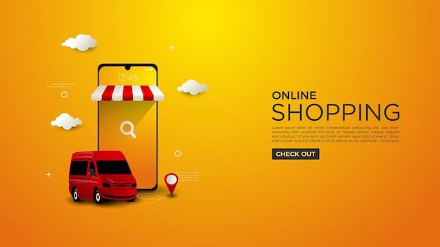 Plano de fundo de compras online com uma ilustração de uma entrega de mercadorias usando uma van