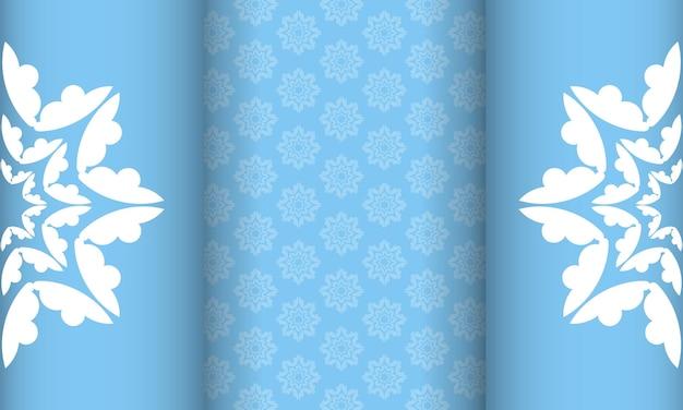 Plano de fundo de cor azul com ornamento mandala branco para design sob o seu logotipo ou texto