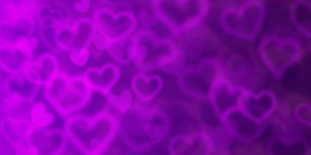 Plano de fundo de corações embaçados em cores roxas. ilustração do dia dos namorados