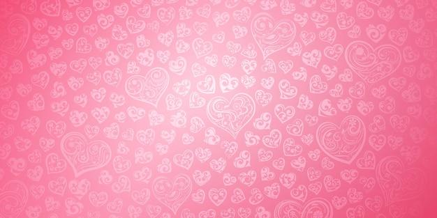 Plano de fundo de corações grandes e pequenos com cachos em cores rosa ilustração no dia dos namorados