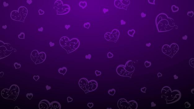 Plano de fundo de corações grandes e pequenos com enfeites de cachos, em cores roxas