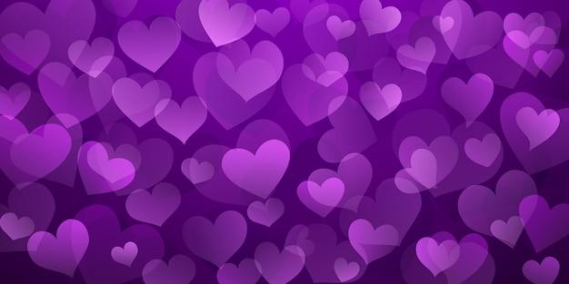 Plano de fundo de corações translúcidos em cores roxas. ilustração do dia dos namorados
