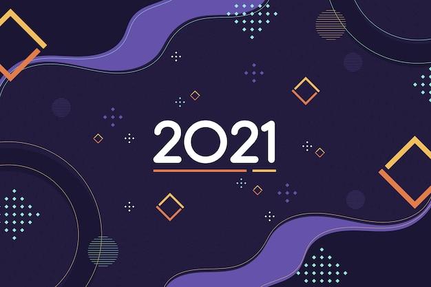 Plano de fundo de design plano ano novo 2021