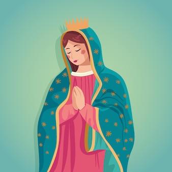 Plano de fundo de design plano fiesta de la virgen