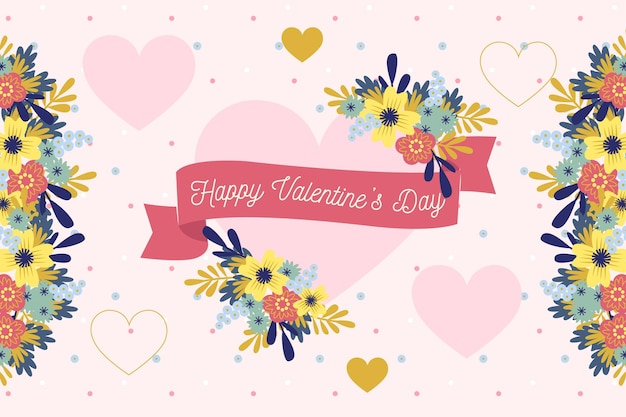 Plano de fundo de dia dos namorados com coração floral