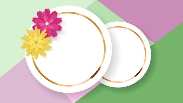 Plano de fundo de duas molduras de círculo branco com tiras douradas e flores de papel coloridas